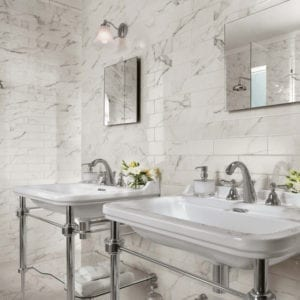 Brick Atelier Calacatta Extra White Marble Look Tile 3x12 Wall