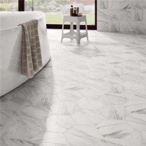 Carrara Hexagon Trendy Trend Look Hex White