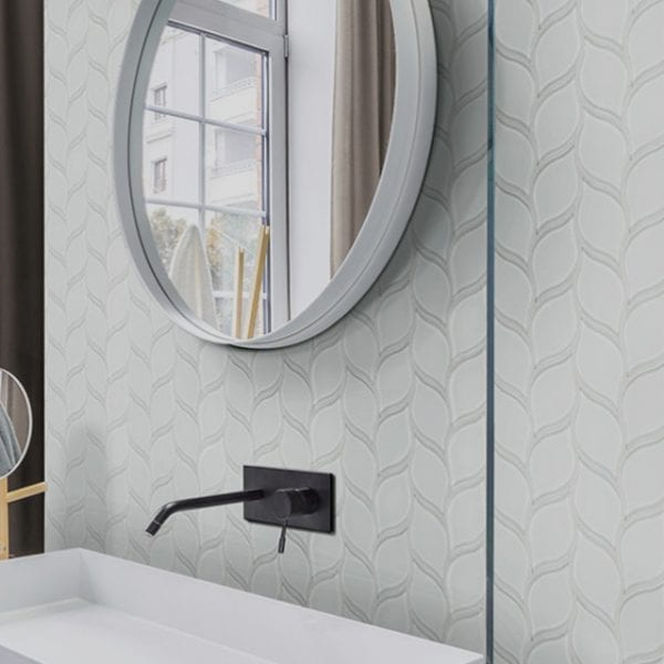 Elements Glass Mosaic Ice white Wall Tile