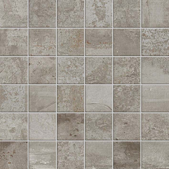 Forge Aluminum Concrete Cement Metal Look Tile 2x2 Mosaic Silver