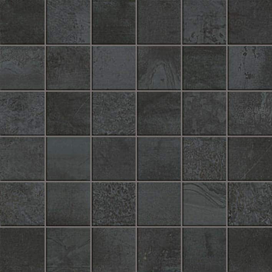 Forge Steel Concrete Cement Look Tile 2x2 Mosaic Silver Black