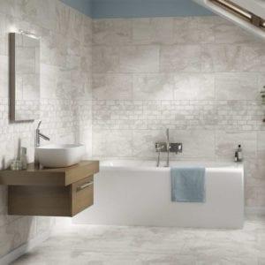 Laurel Heights Gray Summit Marble Travertine Look Tile 12x22 12x24 Mosaic