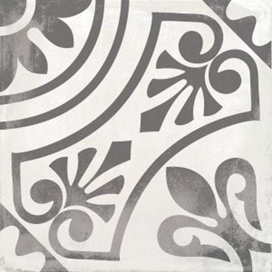 Nola Black Decatur Cement Look Trendy Tile 8x8 Patterned