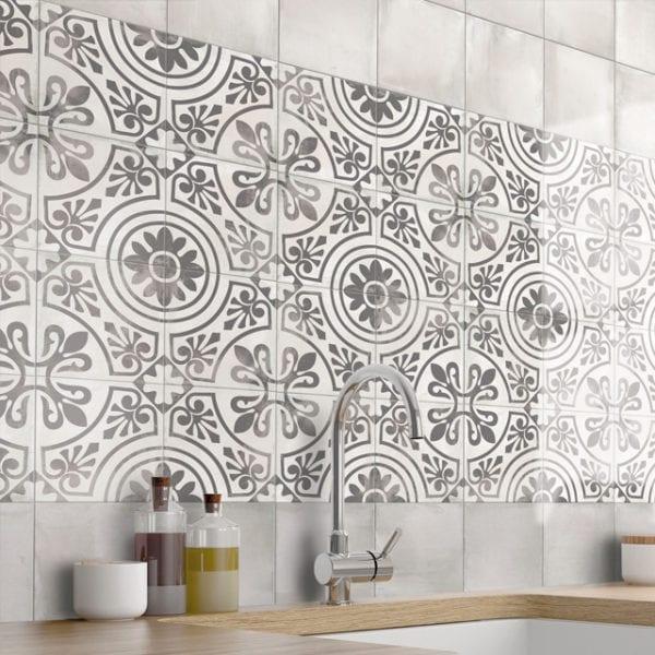 Nola Black Decatur Cement Trendy Look Tile 8x8 Patterned