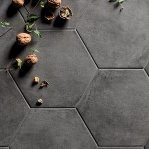 Terra Hexagon Trendy Trend Look Nero Black Gray Hex